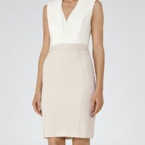 REISS Off White/ Champagne block color dress